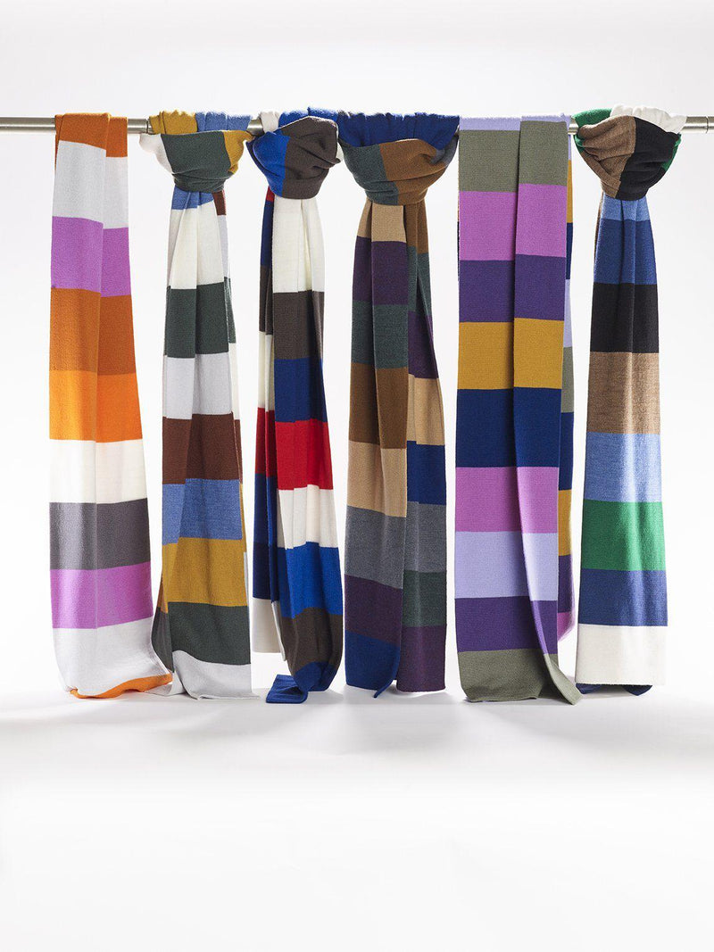 ZigZagZurich Merino Wool Scarves - Extra Fine Striped Merino Wool Scarves - Col. Six 6 6