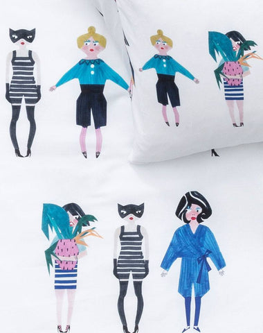 Crazy Girls - Artist Duvet Covers and Pillows by Natalie Born