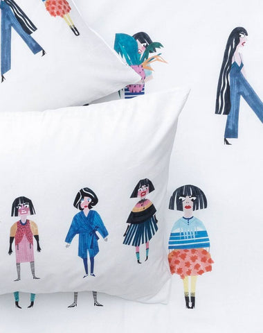Crazy Girls Artist Duvet Covers and Pillows by Natalie Born