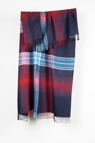 Blue Check XL Baby Alpaca Throws & Shawls 200cm / 78