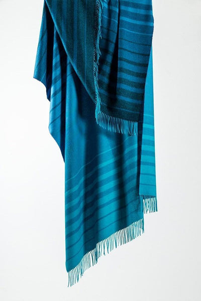 "Blue Striped XL Baby Alpaca Throws & Shawls 200cm / 78"" - ZigZagZurich  - 1"
