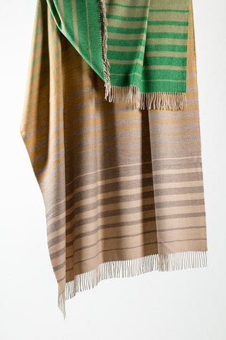 Cream / Green Striped XL Baby Alpaca Throws & Shawls 200cm / 78