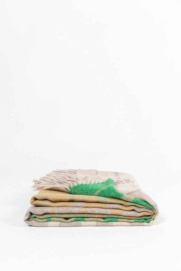 Baby Alpaca Throws - Cream / Green Striped XL Baby Alpaca Throws & Shawls 200cm / 78""