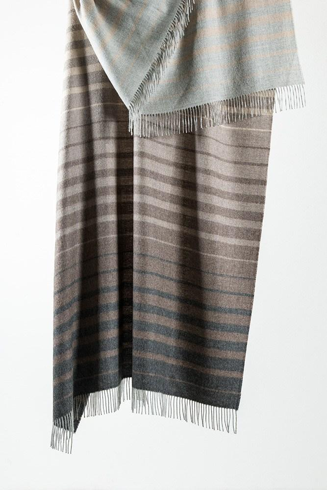 "Grey / Brown Striped XL Baby Alpaca Throws & Shawls 200cm / 78"" - ZigZagZurich  - 1"