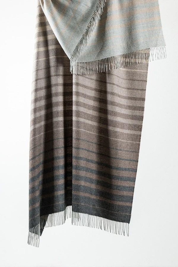 Baby Alpaca Throws - Grey / Brown Striped XL Baby Alpaca Throws & Shawls 200cm / 78""