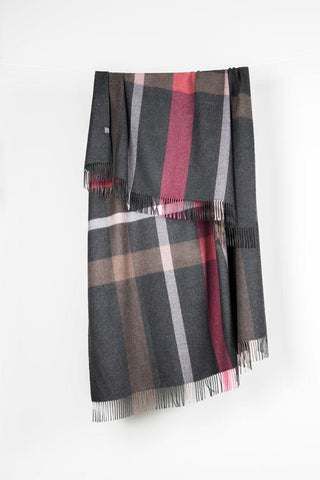 Grey / Pink Check XL Baby Alpaca Throws & Shawls 200cm / 78