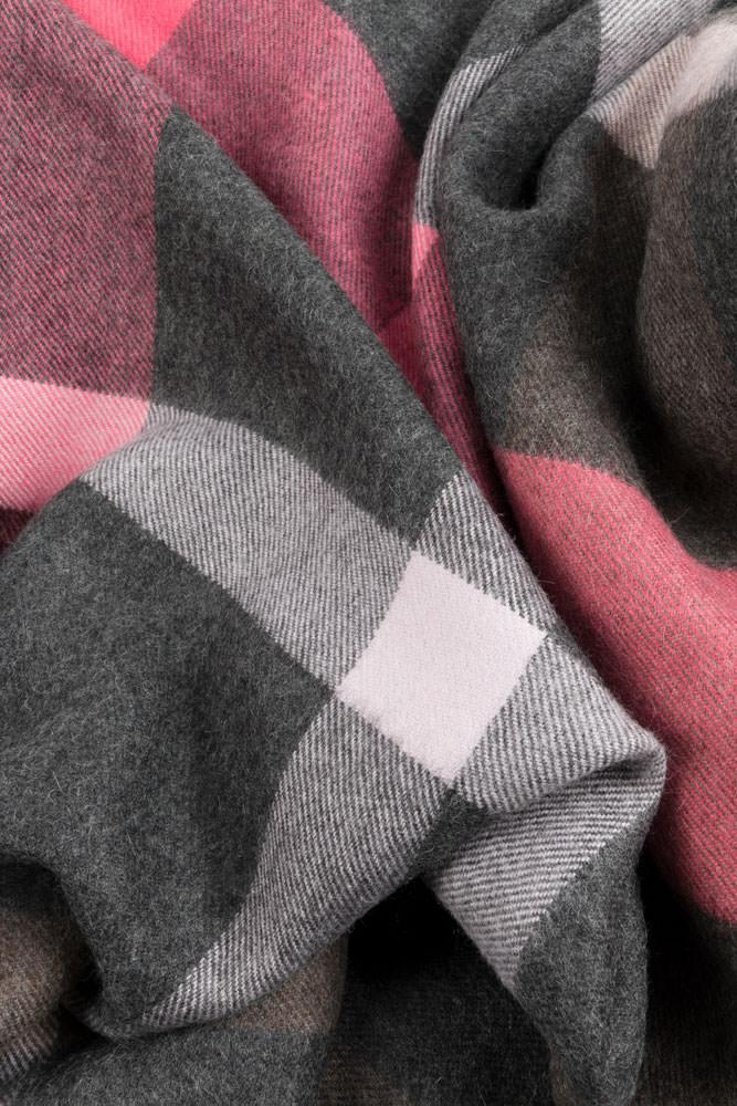 Baby Alpaca Throws - Grey / Pink Check XL Baby Alpaca Throws & Shawls 200cm / 78""