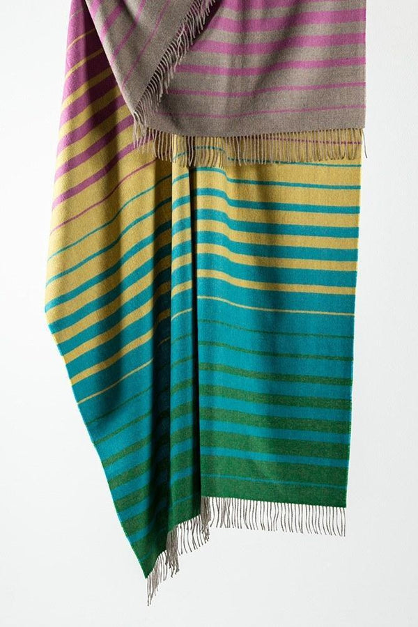 Baby Alpaca Throws - Multicolour Striped XL Baby Alpaca Throws & Shawls 200cm / 78""