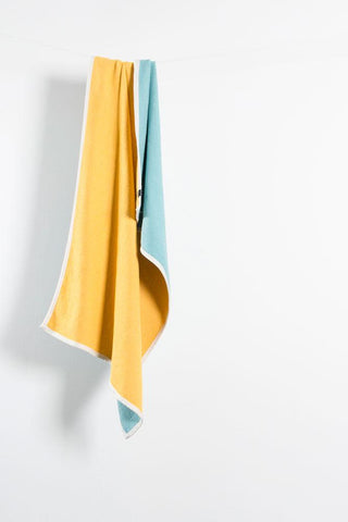 Beached Cotton Beach Towels / Mini Blankets - Bondi Yellow / Turquoise