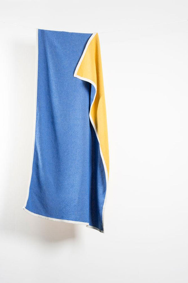 Beach Towels / Mini Blankets - Beached Cotton Beach Towels / Mini Blankets - Miramar Yellow / Blue