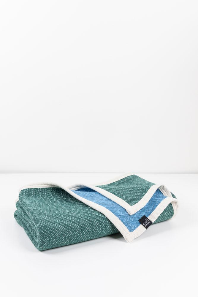 Beach Towels / Mini Blankets - Beached Cotton Beach Towels / Mini Blankets - Nassau Sky Blue / Green