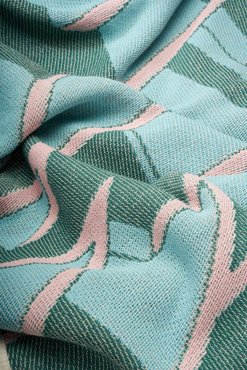 Cotton Blankets & Throws - Dedale Cotton Blankets & Throws By Kevin Lucbert - Turquoise