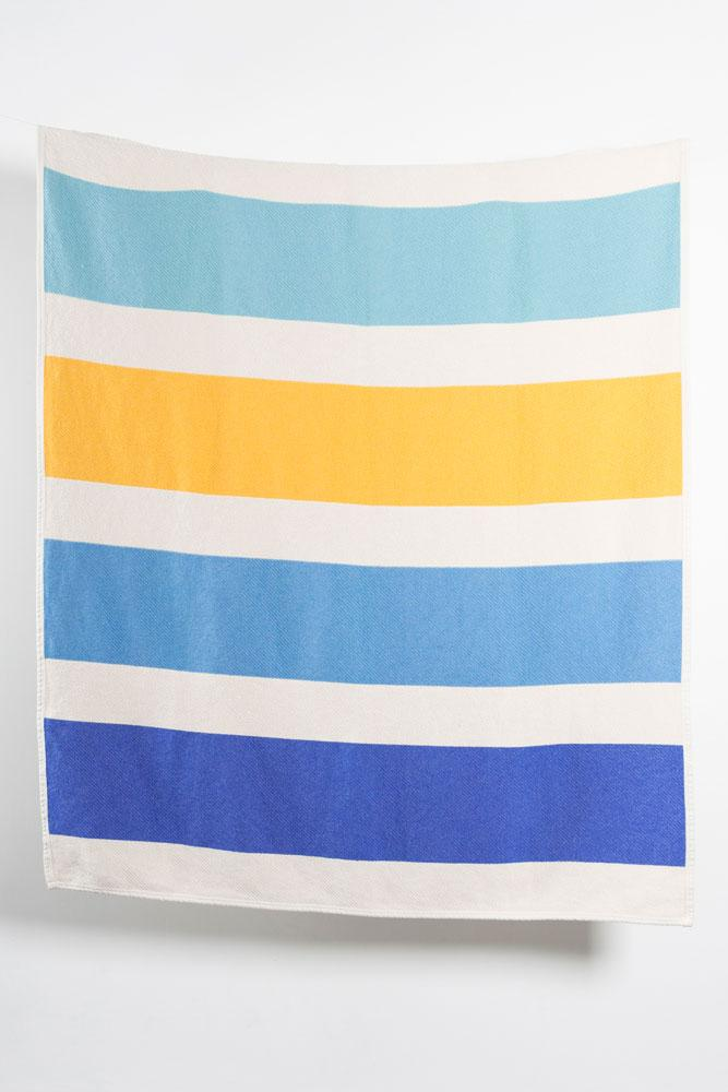 Cotton Blankets & Throws - Striped Artist Cotton Blankets / Throws By Michele Rondelli - Blue
