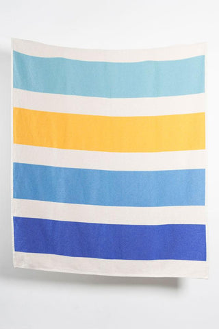 Striped Artist Cotton Blankets / Throws by Michele Rondelli - Blue