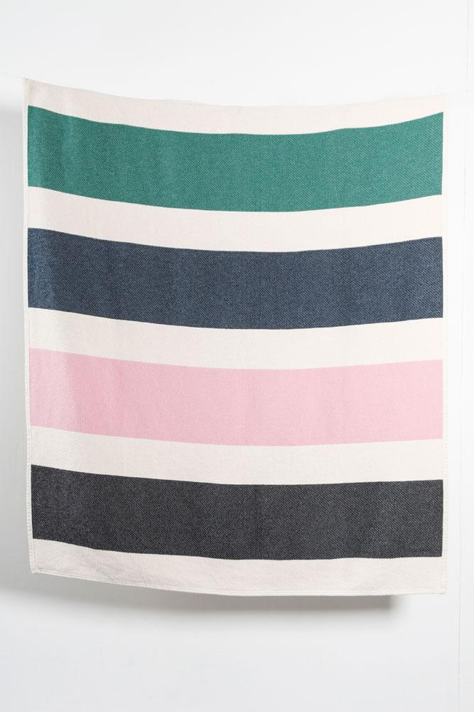 Cotton Blankets & Throws - Striped Artist Cotton Blankets / Throws By Michele Rondelli - Rose