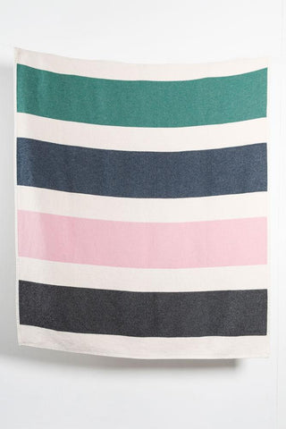 Striped Artist Cotton Blankets / Throws by Michele Rondelli - Rose