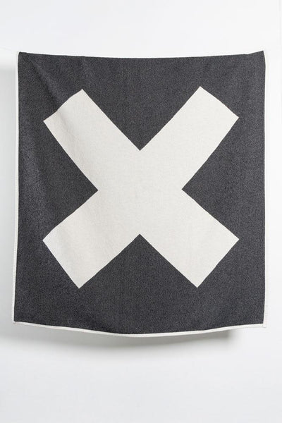 Cotton Blankets & Throws - X Marks The Spot Artist Cotton Blankets / Throws By Michele Rondelli - Black & White