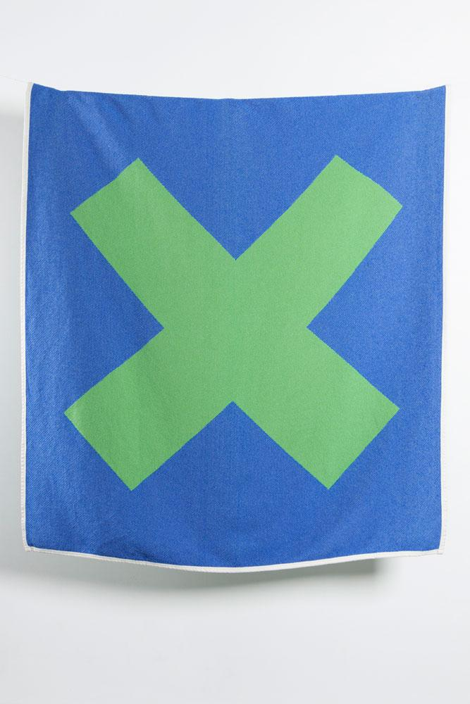 Cotton Blankets & Throws - X Marks The Spot Artist Cotton Blankets / Throws By Michele Rondelli - Green / Blue