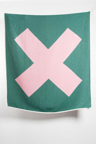 X Marks The Spot Artist Cotton Blankets / Throws by Michele Rondelli - Green / Rose