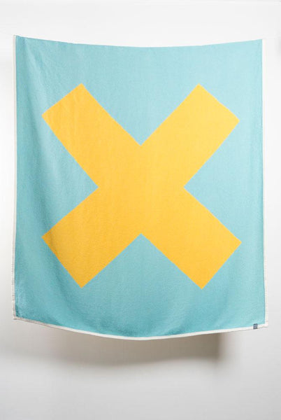 Cotton Blankets & Throws - X Marks The Spot Artist Cotton Blankets / Throws By Michele Rondelli - Yellow / Turquoise