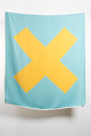 X Marks The Spot Artist Cotton Blankets / Throws by Michele Rondelli - Yellow / Turquoise