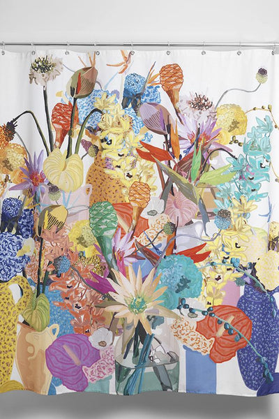 Cotton Shower Curtains - Blossom Artist Cotton Shower Curtain ( Waterproof ) By Sophie Probst
