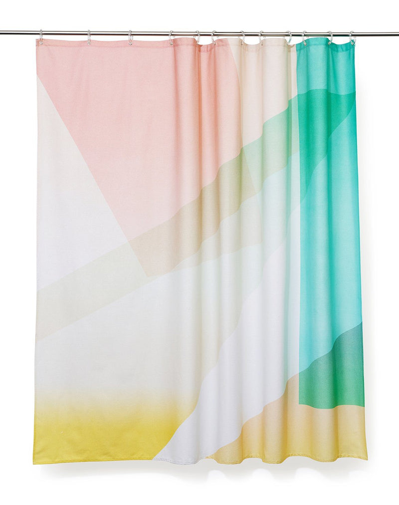 Cotton Shower Curtains - Kaleidoskop Artist Cotton Shower Curtain ( Waterproof ) By Celine Cornu
