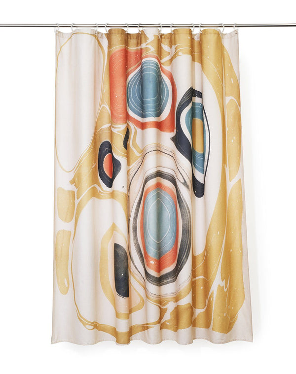 Cotton Shower Curtains - Marble Artist Cotton Shower Curtain ( Waterproof ) By Fiona Ryan