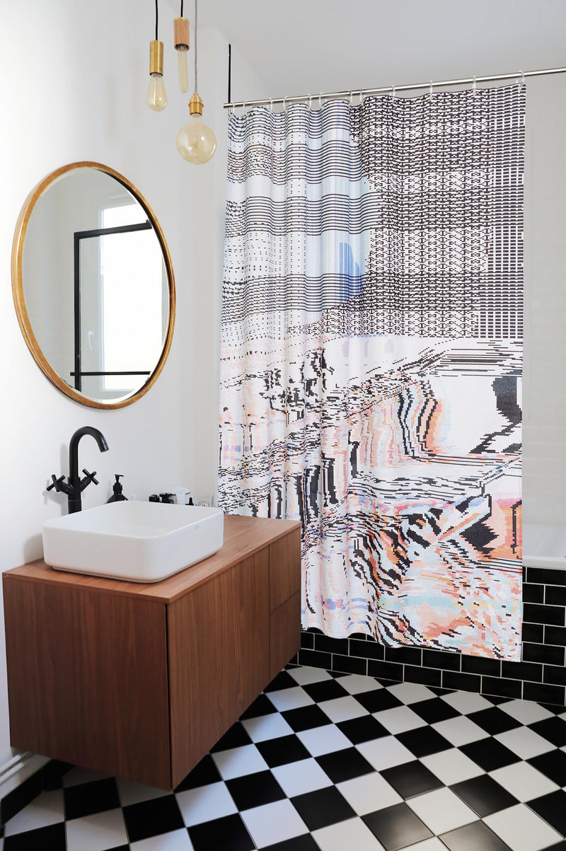 Duschvorhang aus Baumwolle Cotton Shower Curtains - Syntax Artist Cotton Shower Curtain ( Waterproof ) By Laura Knoops