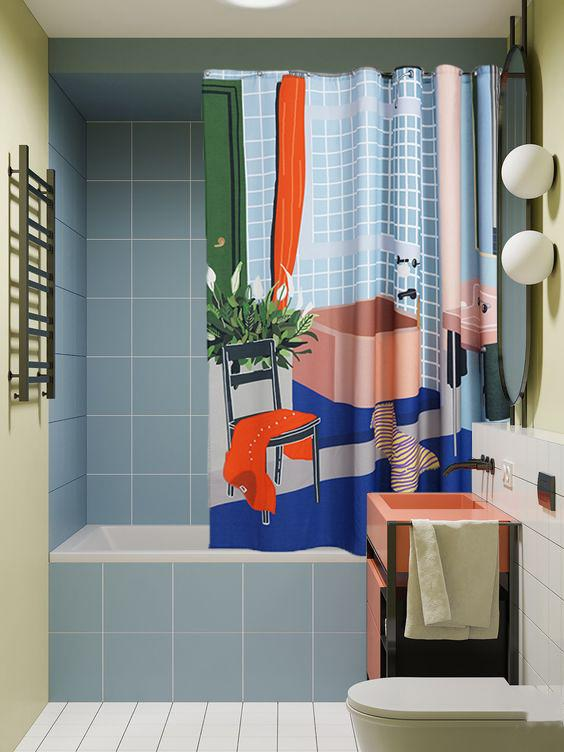 Cotton Shower Curtains - The Bathroom Artist Cotton Shower Curtain ( Waterproof ) By Sophie Probst