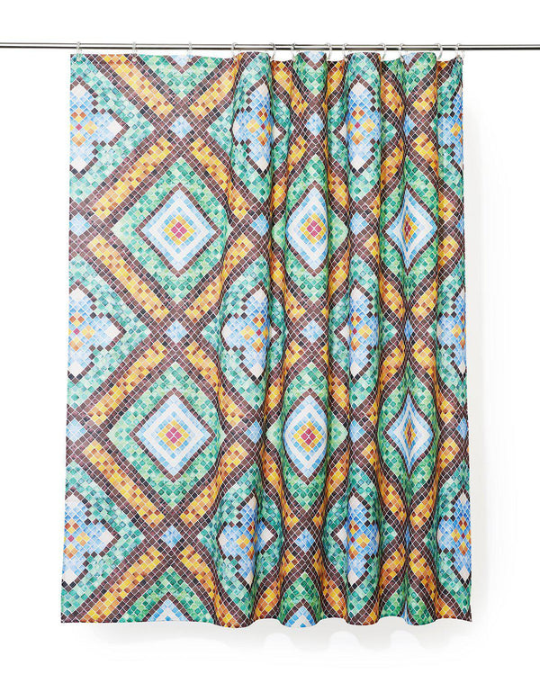 Cotton Shower Curtains - Tilescapes Artist Cotton Shower Curtain ( Waterproof ) By Remo Mazzoni