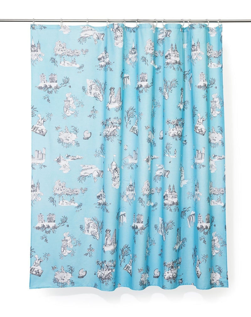 Duschvorhang aus Baumwolle Cotton Shower Curtains - Toile De Suisse Col Blue Artist Cotton Shower Curtain ( Waterproof ) By Celine Cornu