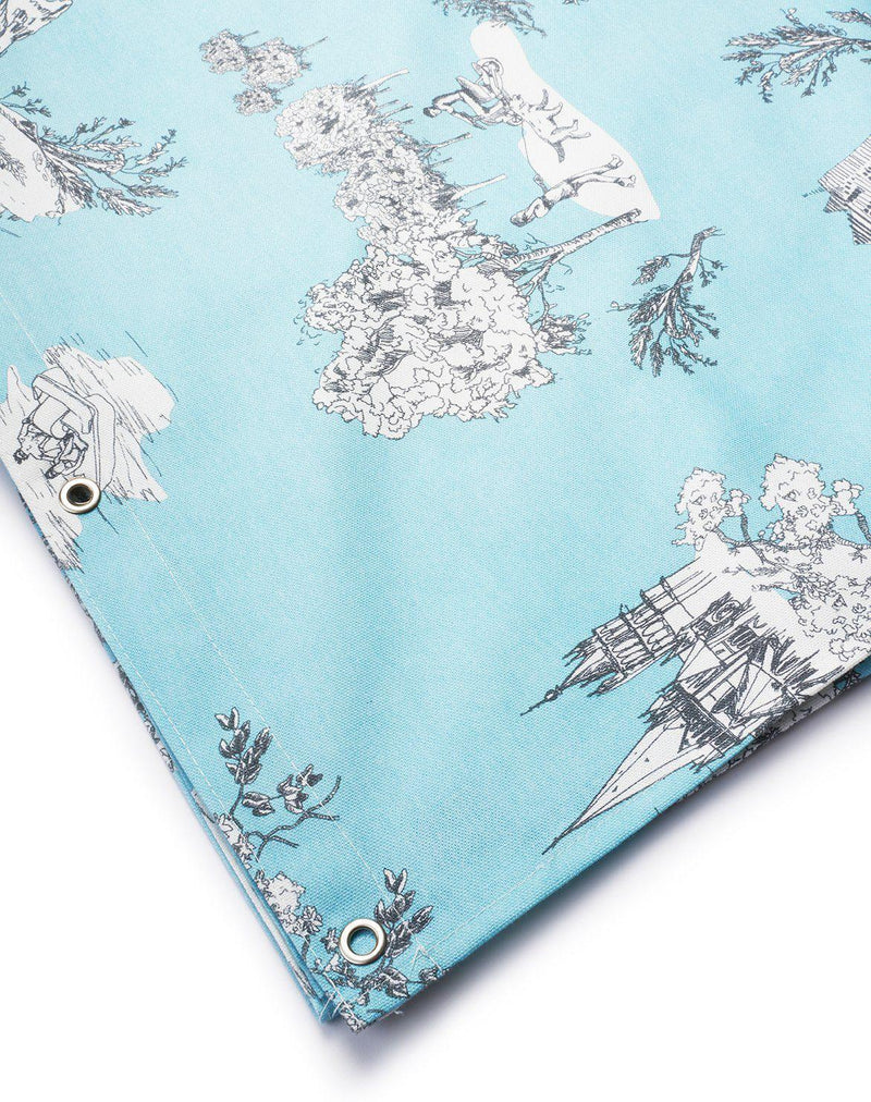 Cotton Shower Curtains - Toile De Suisse Col Blue Artist Cotton Shower Curtain ( Waterproof ) By Celine Cornu