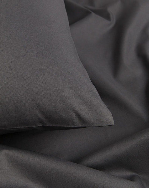 Anthracite / Dark Grey Percale Egyptian Cotton Duvet Covers / Pillows - ZigZagZurich  - 1