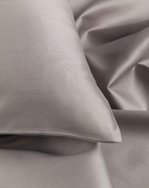 Grey Egyptian Cotton Sateen Duvet Covers / Pillows - ZigZagZurich  - 1