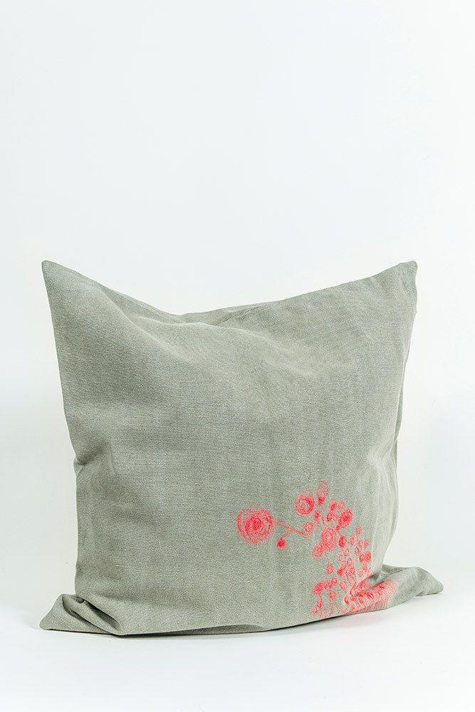 Embroidered Cushions - Hand Embroidered One Of A Kind Pillows & Cushions - Cotton Denim