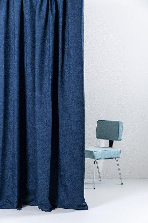 "Extra Wide Blackout Curtains - Extra Wide Blackout Curtains 300cm/118"" - Blue Linen Weave"
