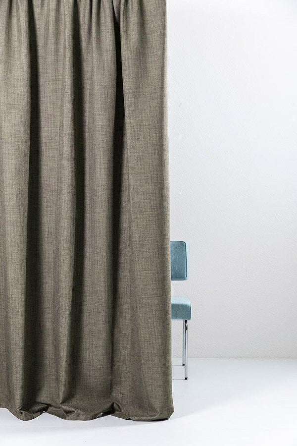 "Extra Wide Blackout Curtains - Extra Wide Blackout Curtains 300cm/118"" - Brown Linen Weave"