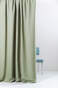 "Extra Wide Blackout Curtains - Extra Wide Blackout Curtains 300cm/118"" - Green Linen Weave"