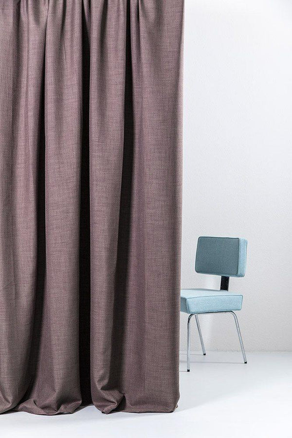 "Extra Wide Blackout Curtains - Extra Wide Linen Blackout Curtains 300cm/118"" - Grape Linen Weave"