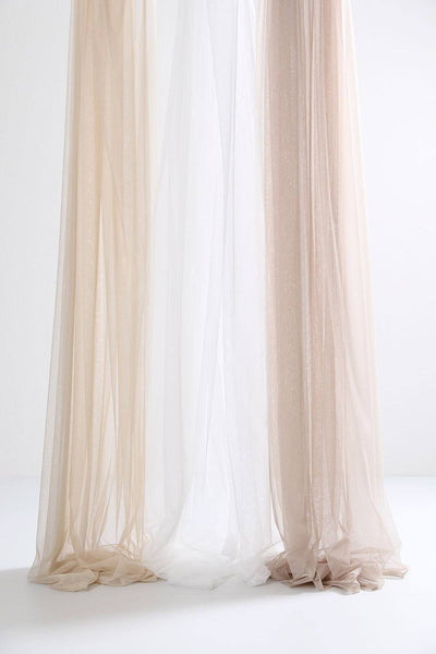 "Beige Sheer Tulle Curtains 300cm /118""Wide!"