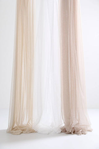 "Beige Sheer Tulle Curtains 300cm /118""Wide"