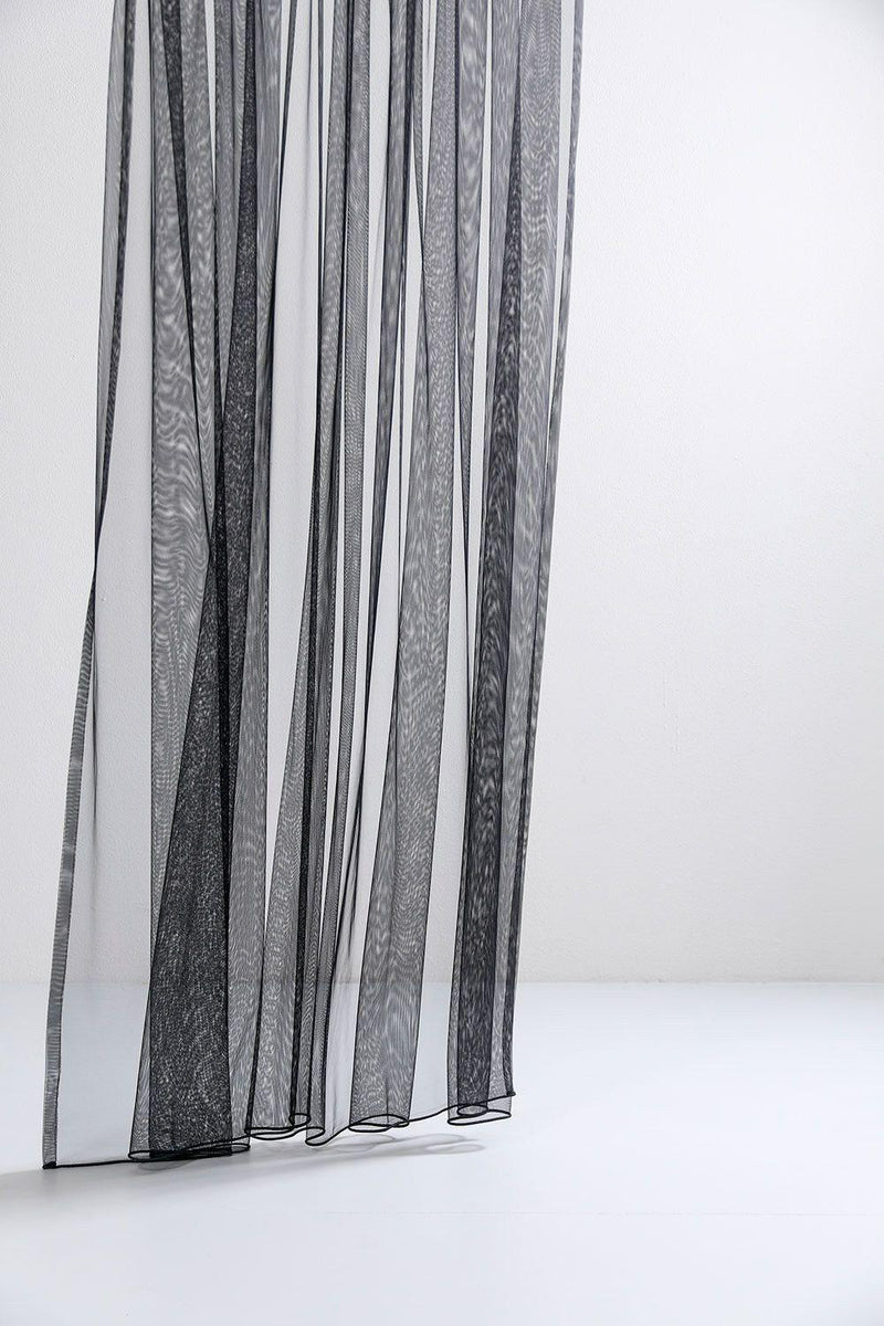 "Extra Wide Sheer Tulle Curtains - Black Sheer Tulle Curtains 300cm / 118""Wide"