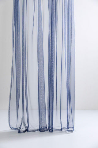 "Blue Sheer Tulle Curtains 300cm /118""Wide"