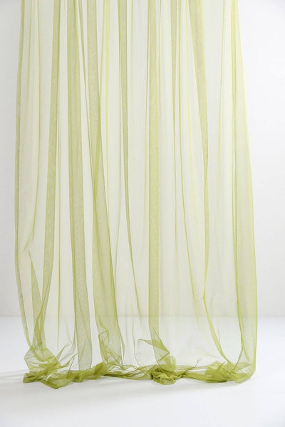 "Green Sheer Tulle Curtains 300cm / 118""Wide"
