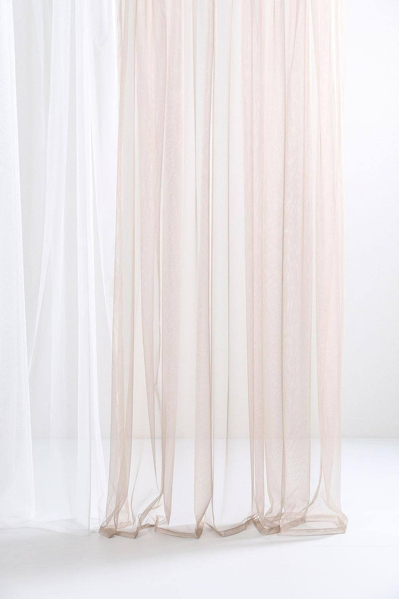 "Extra Wide Sheer Tulle Curtains - Natural Sheer Tulle Curtains 300cm /118""Wide"