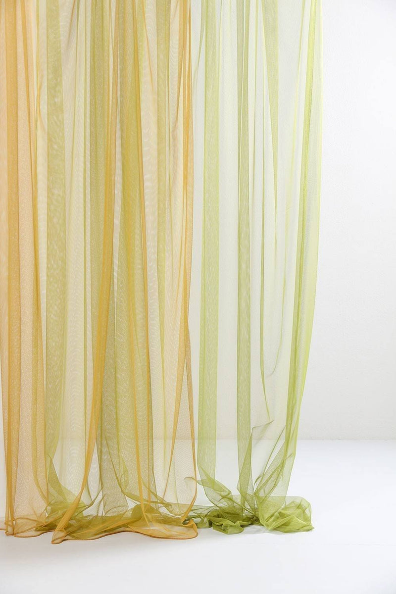 "Extra Wide Sheer Tulle Curtains - Yellow Sheer Tulle Curtains 300cm /118""Wide"