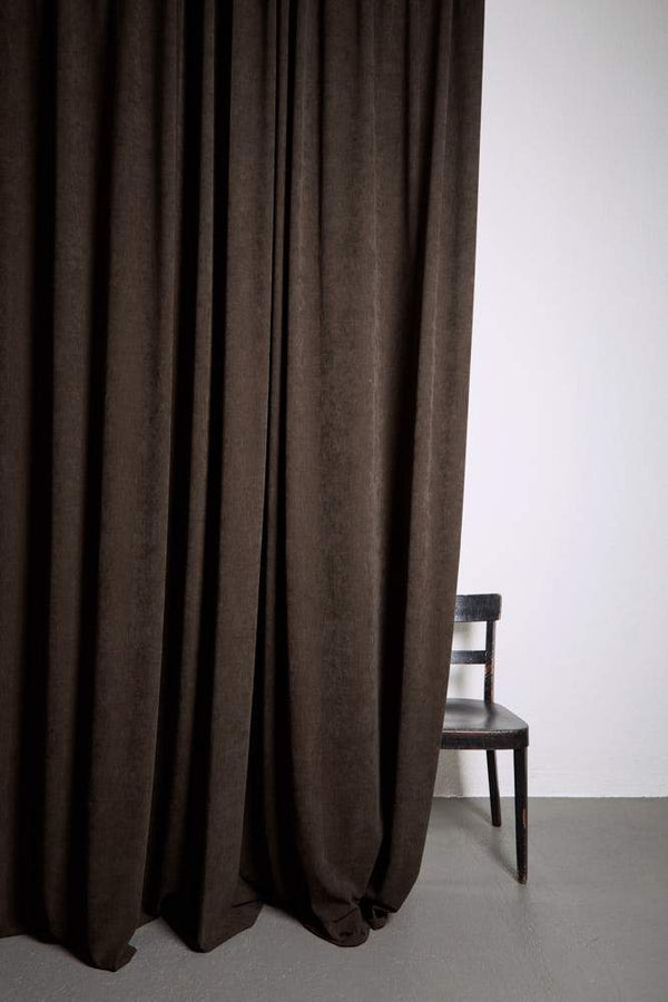 "Extra Wide Velvet Curtains - Extra Wide Matt Velvet Dim-out Curtains 300cm/118"" -  Brown 392"