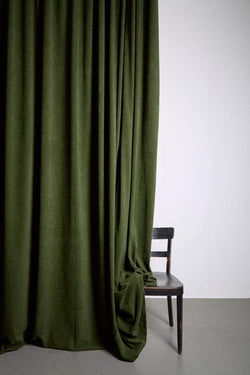 "Extra Wide Velvet Curtains - Extra Wide Matt Velvet Dim-out Curtains 300cm/118"" -  Green Velvet 253"