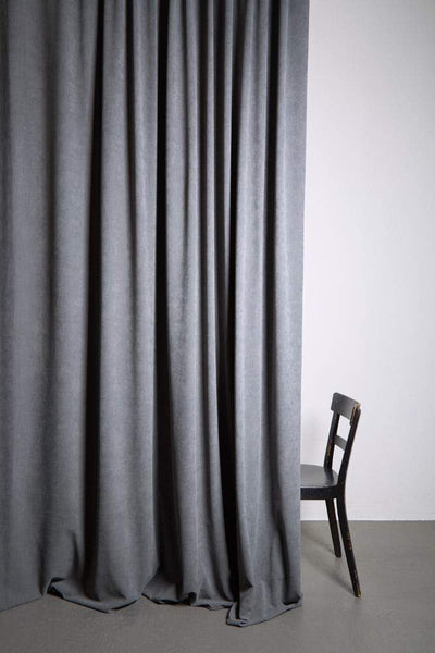 "Extra Wide Velvet Curtains - Extra Wide Matt Velvet Dim-out Curtains 300cm/118"" -  Grey 351"